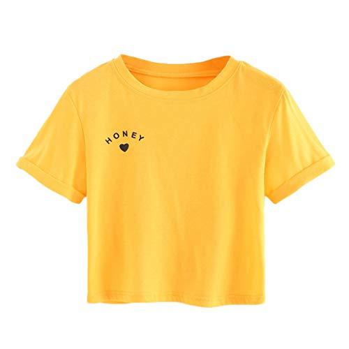 (RYTEJFES T-Shirt Damen Tumblr Große Größen Kurzarm-T-Shirt mit Rundhalsausschnitt für Damen Lässige Top-Bluse Süß Gelb Baumwollshirt mit Turn-Up Ärmeln)