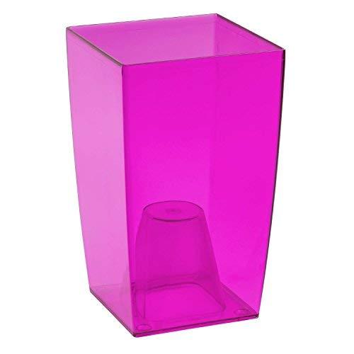 Prosperplast Coubi Tower Blumentopf/Vase, transparent, Plastik, Pink Transparent, 12x12x20 cm