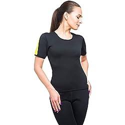 VEOFIT Damen Schwitz T-Shirt hohe Schlankheits-Töne die Arme, den Bauch, Rücken und Hüften für eine straffere Haut und eine verfeinerte Silhouette Grösse M
