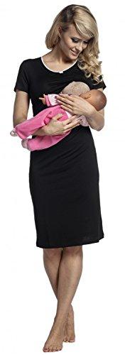 Happy Mama. Damen Umstands-Nachthemd mit Stillfunktion. Stillshirt Kurzarm. 274p Schwarz