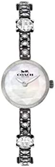 Coach Women's White Mother Of Pearl Dial Stainless Steel Tumbled & Darkened Antique Finish With Cryst