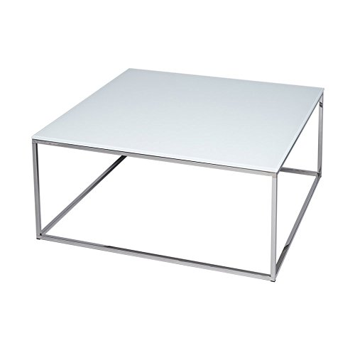 Gillmore Space Verre Blanc Table Basse carré d'Argent métal Contemporain