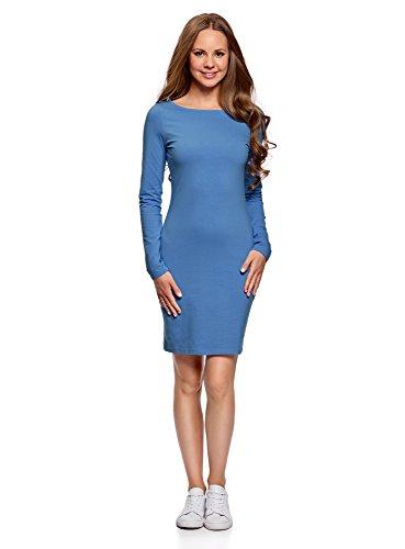 oodji Ultra Damen Enges Jersey-Kleid, Blau, DE 38 / EU 40 / M (Langen Midi-kleid Ärmeln)