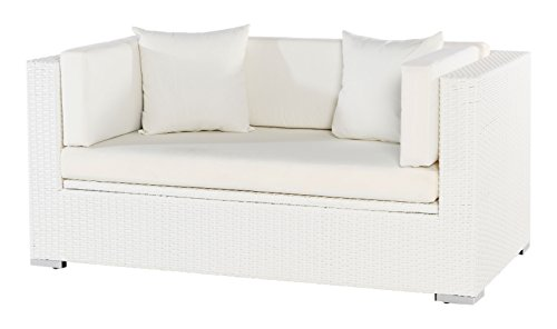 Outflexx 2-Sitzer Sofa, inklusive Polster, Kissenbox funktion, Weiß, 152 x 85 x 70 cm