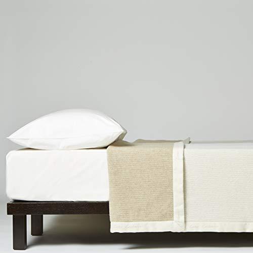 Lanerossi coperta matrimoniale maxi serenella, coperta in cashmere e lana vergine, 230x270 cm, bianco/beige double face