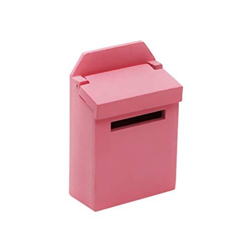 ToDIDAF Puppenhaus-Zubehör, Mini-Briefkasten, 1:12 Hölzerne bunte Puppenhaus-Miniaturmöbel, Lernspielzeug für Kinder Geburtstag Valentinstag für Schlafzimmer Garten Decor 4,6 x 2,6 x 6,9 cm (Rosa)