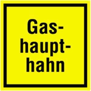 Schild: Gashaupthahn Alu 20 x 20cm