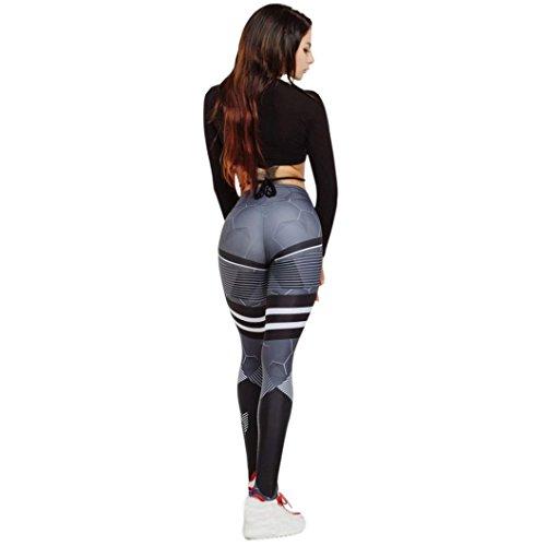 u. expectating Frauen Yoga Hosen-fashioin Frauen Honeycomb gestreift Print Hohe Taille Yoga Fitness Leggings Laufen Gym Stretch Sport Hose engen Hosen, Schwarz , Large (Thermo-unterwäsche Hosen Frauen)