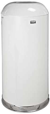 Fire-Resistant Open Top Receptacle, Round, Steel, 15gal, White, Sold as 1 Each