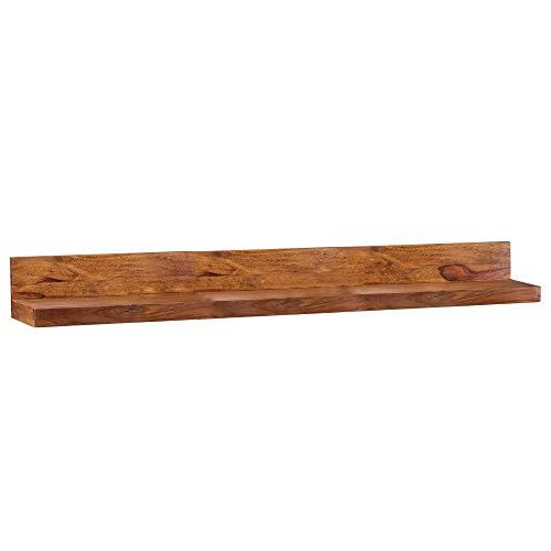 FineBuy Wandregal Massiv-Holz Sheesham Holzregal 160 cm breit Landhaus-Stil Hänge-Regal Echt-Holz Wand-Board Natur-Produkt Wandkonsole dunkel-braun Brett unbehandelt Regale zum Aufhängen Unikat Ablage -