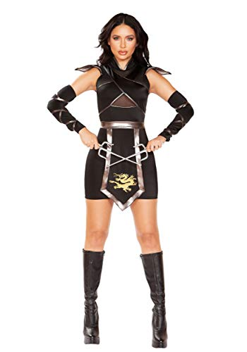 Deluxe Sexy Ninja Warrior Women's Fancy Dress Costume (Deluxe Adult Ninja Kostüm)