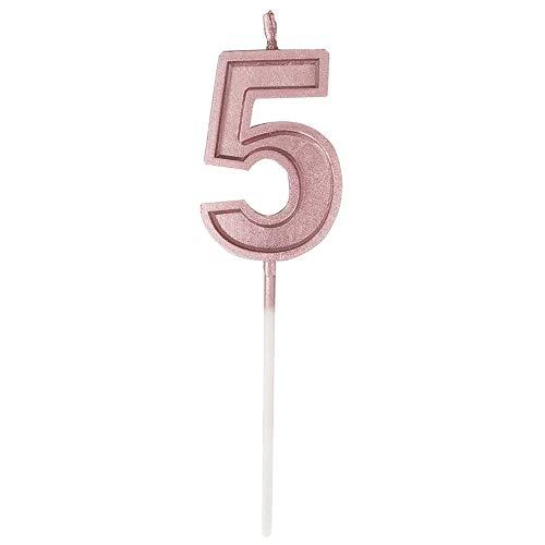 sunnymi Geburtstagskerzen, Nummer 2019 Geburtstag Zahl Kerzen Anzahl Kuchen Dekor für Erwachsene/Kinder Party (Rose Gold, 5)