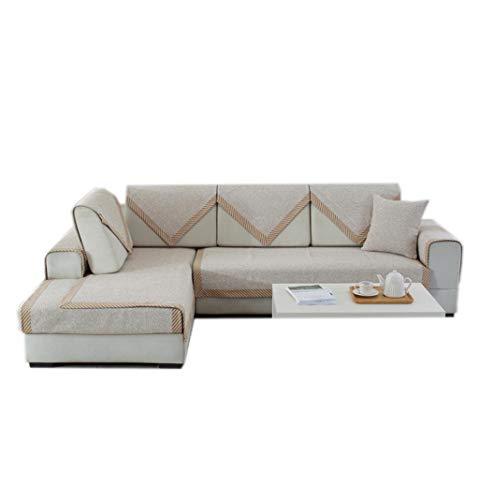 ALYR Sofa üBerzug Ecksofa, Rutschfeste gepolsterte Kombination aus Baumwolle und Leinen Sofa Pad Couch-Überzug für Hunde, Haustiere,White_35x63inch