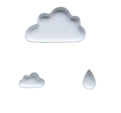 AN-LKYIQI Cloud-Platte, kreative japanische Vielzahl von optional 9-Zoll-Reis Töpferei Fast-Food-Set , white - White Fast-food