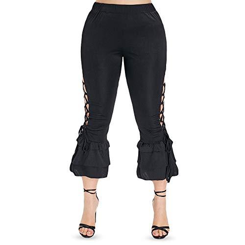 Yiqiane Lange Hose Schnüren Sie Sich Rüsche Plus Size Hose Leggings Halloween Leggings Schnüren Sie dünne Hosen Halloween Kürbis zum Workout Fitness Athletisch (Size : 4X)