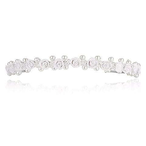 Handmade Bridal Roses Flower Crystal Beaded Pearls Prom Wedding Headband Tiara T954 by Venus Jewelry