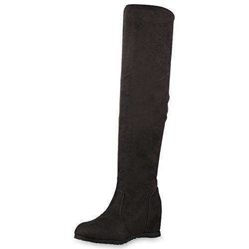 SCARPE VITA Damen Stiefel Keilabsatz Overknees Wedges Boots Schuhe 127548 Dunkelgrau 39