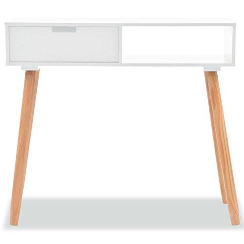 mewmewcat Tavolo Consolle Rettangolare Moderno,Tavolo Consolle in Legno di Pino Massello 80x30x72 cm Bianco