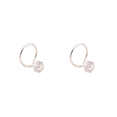 92.5 Sterling Silver with nice cut Cz LIke Diamond Nose Pin Especially for those with sensitive skin Ear 1400