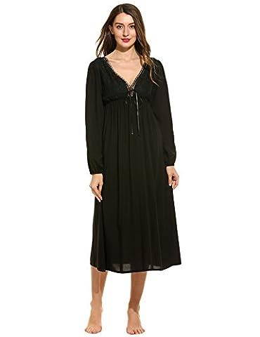 Ekouaer Women's Cotton Victorian Vintage Lace Long Nightgown Nightdress (Black,