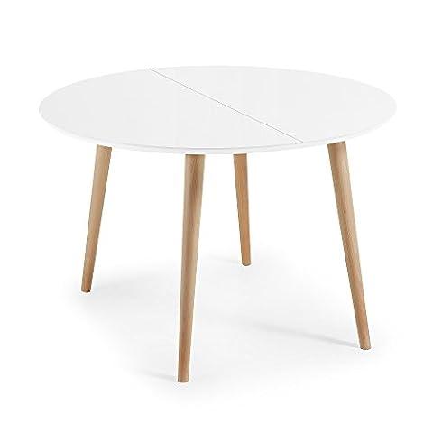 Kavehome Table Oqui extensible ronde 120-200 cm, naturel et