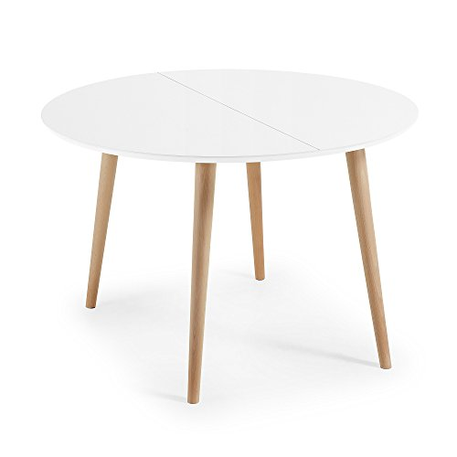 Kave Home Table Oqui Extensible Ronde 120 (200) x 120 cm Blanc