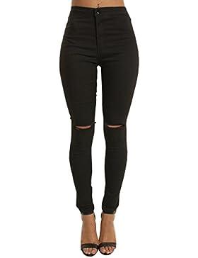 Evedaily Mujer Skinny Pantalones Flacos De Cintura Alta Elásticos Slim Mezclilla Pantalones