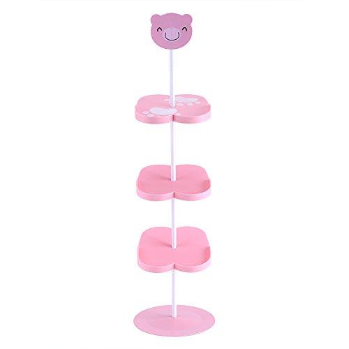 Kind beschuht Gestell 4 Schichten Karikatur Tiermuster Schuh Regal tragbar für Platzeinsparung(Pink Bear)