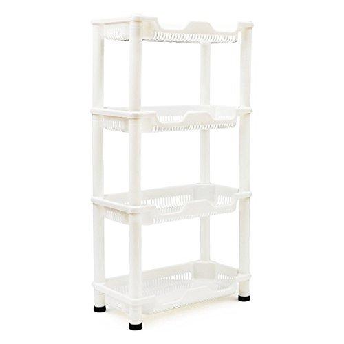 TaoHaoHuo Standregal Küche Badregal Kunststoff Weiss aus Plastik Küchenregal Rollen (Weiß Caddy Kunststoff Dusche)