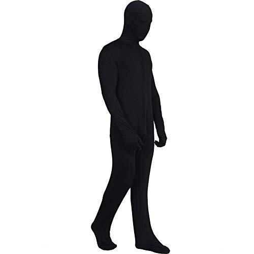 YouN Herren Einteiler für Halloween, Cosplay, Unsichtbarer Bodysuit, Schwarz