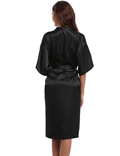 Aibrou Damen Satin Morgenmantel Kimono Lang Bademantel Schlafanzug Negligee Nachthemd Nachtwäsche Unterwäsche V Ausschnitt Mit Gürtel Schwarz