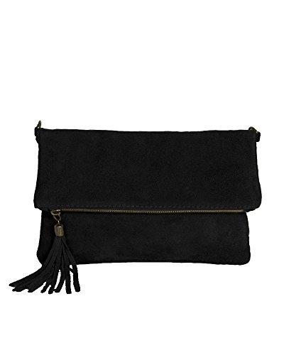 Leder Clutch schwarz kleine Ledertasche Wildleder Umhängetasche Abendtasche Partytasche Handtasche Lederhandtasche 24-bl