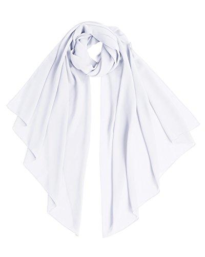 Bridesmay Chiffon Stola Schal für Hochzeit in verschiedenen Farben White S 180cm*72cm