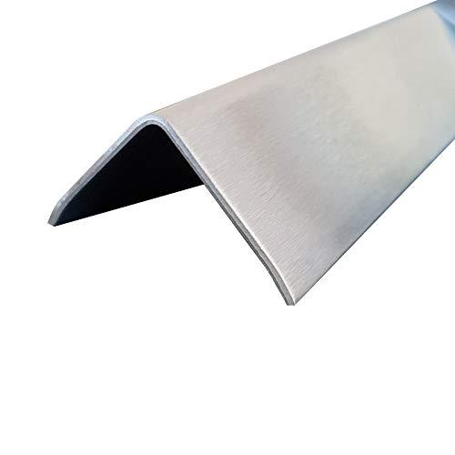 1x Edelstahl Winkel 3-fach gekantet 30 x 30 mm Schliff Außen Edelstahl V2A K240 geschliffen 2000 mm lang 0,8 mm stark einseitig mit Schutzfolie - Fach 30x30