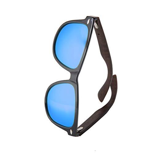 WOLA Sonnenbrille Holz - Bügel ICE eckige Brille starke Brücke polarisierte Holzbrille Damen L Herren M blau verspiegelte Linse