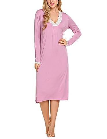 Ekouaer Femme Pyjama Robe de Chambre Manche Longue Dentelle Sur Poignet Col V Rose Clair M