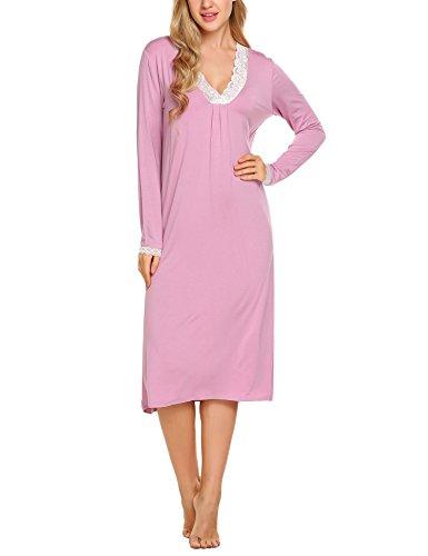 Ekouaer Damen Kleid Nachthemd Schlafanzüge Nachtwäsche Langarm Dessous Spitzen Nebelige Rose M (Lace Nachthemd Kleid Trim Langes)