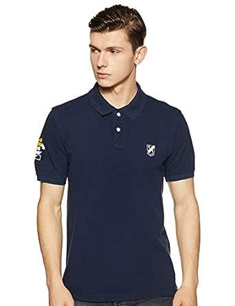 Amazon Brand - House & Shields Men's Solid Regular fit Polo (SS19-HSK-21_Iris Navy_L)
