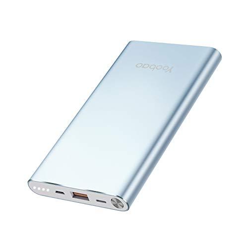 Yoobao Powerbank 10000mAh AkkuPack mit Micro USB & Apples Lightning-Anschluss Aufladen Handy Ladegerät Kompatibe für iPhone/Xiaomi/Huawei/Samsung Galaxy (Blau)