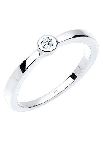 Diamore Damen-Ring Klassischer Solitär Diamant 0,03 Karat weiß silber 925 Gr. 52 (16.6) 0605390213_52 (Weißen Silber Diamant-ringe)