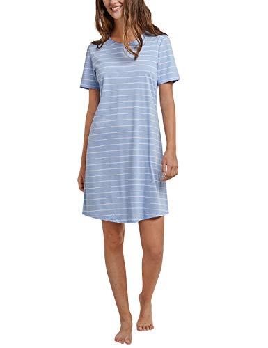 Schiesser Damen Negligee Sleepshirt 1/2 Arm, 90cm, Blau (Air 802) 40