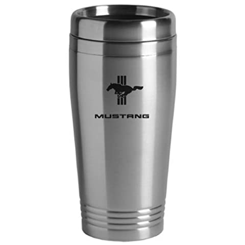 Ford Mustang Tri-Bar Travel Mug Silver by The Car Guy Superstore