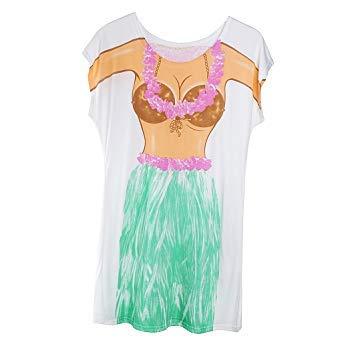 Missgrocery Damen Hawaii-Bikini, Badeanzug, T-Shirt, Junggesellinnenabschied, Pyjama, Urlaub, Strand, Pool, Party, Überzug