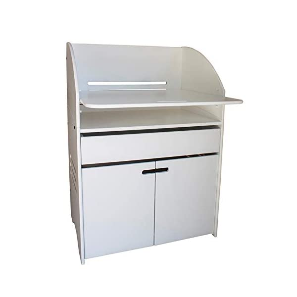 m-kids Changing Table, White m-kids Multifunctional changing table for many years of use - easy to turn into a junior desk when your child is not using diapers anymore Adjustable changing plate for optimal conception with your baby - without the need for too High edges for optimal safety 1