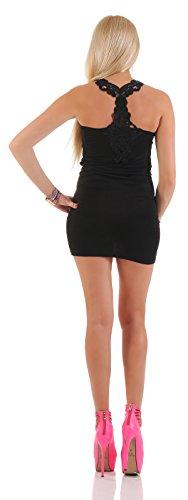 Damen Minikleid Mini Kleid Strand Freizeit aus Stretch Stoff im Tank Top Ringer Look gehäkelte Spitze Schwarz