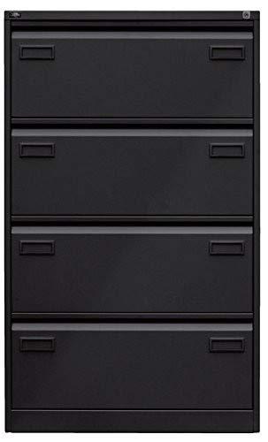 ängeregistraturschrank, doppelbahnig, DIN A4, 4 HR-Schubladen, Stahl, 633 Schwarz, 62.2 x 80 x 132.1 cm ()