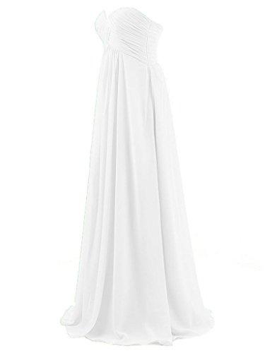 JAEDEN Femme Sans bretelles Robes de demoiselles d'honneur Longue Robe de bal Robe de f¨ºte Mousseline de soie Bleu