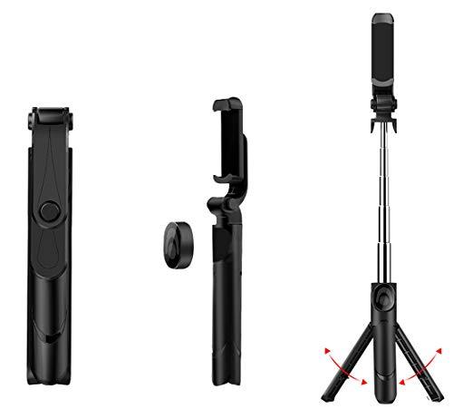 Kapel selfie stick bluetooth estensibile con telecomando wireless per samsung galaxy s9 / s9 plus/note 8, huawei mate 10 pro / p20 lite etc, nero