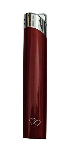 GravUp: Schmales Gas-Feuerzeug (rot) mit Gravur auf der Vorderseite (Gasfeuerzeug nachfüllbar)