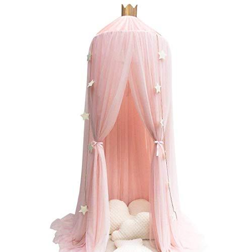 Rosa Garn Baldachin, Wenscha Betthimmel Kinder Baby Kinderzimmer Bettvorhang Baumwolle Deko Moskitonetz Insektenschutz für Prinzessin Spielzelte Babybett & Schlafzimmer Dekoration, mit Sternengirlande